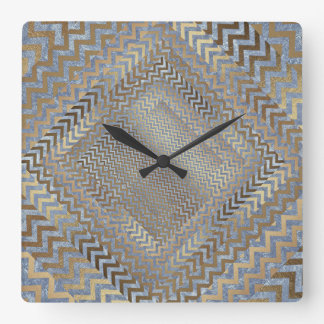 Gold Grungy Zig Zag Blue Geometric Clock Square