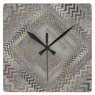 Gold Grungy Zig Zag Blue Geometric Clock Square