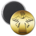 GOLD GUARDIAN ANGEL 6 CM ROUND MAGNET