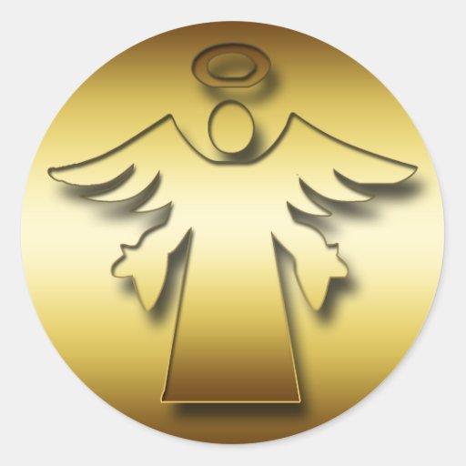 GOLD GUARDIAN ANGEL CLASSIC ROUND STICKER
