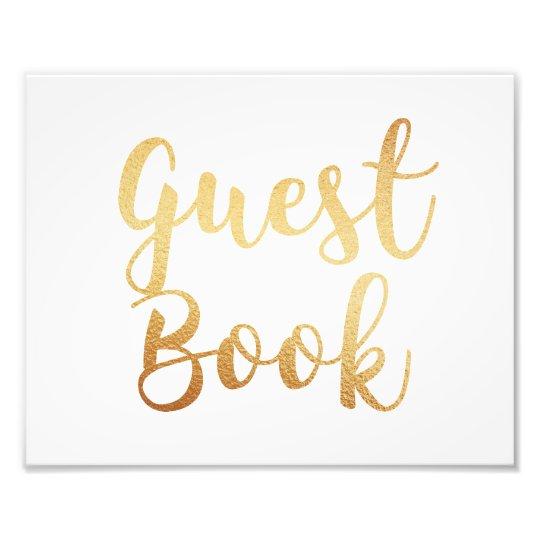 Gold guest book sign. Wedding poster. Foil effect