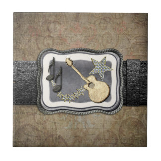 Gold Guitar Buckle Small Square Tile