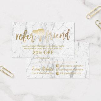 Gold Hair Dryer Modern Marble Salon Referral Business Card