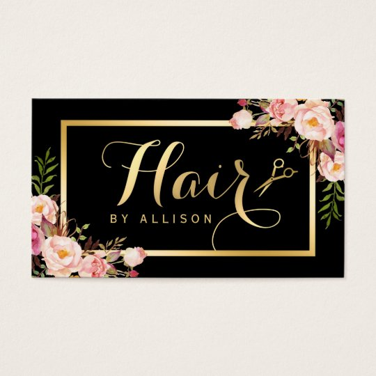 Gold Hair Stylist Scissors Trendy Girly Floral Business