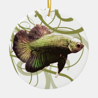 Gold Half-moon Betta Siamese Fighting Fish Christmas Ornament