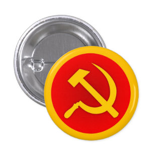 Gold Hammer and Sickle Pin w/Gold Border
