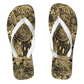 Gold hand drawn boho dreamcatcher floral doodles flip flops