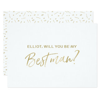 "Gold Hand lettered ""Will you be my best man"" 13 Cm X 18 Cm Invitation Card"