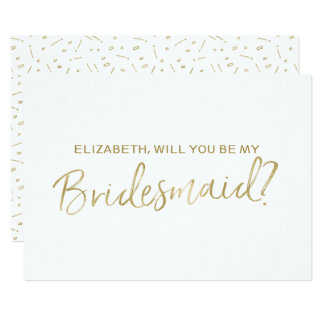 "Gold Hand lettered ""Will you be my bridesmaid"" Card"