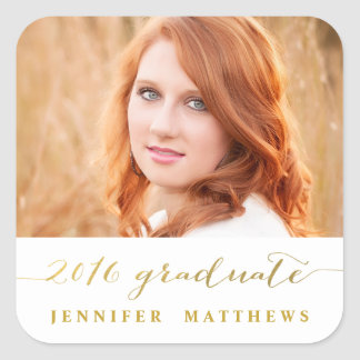 Gold Handwriting   2016 Photo Graduation Sticker