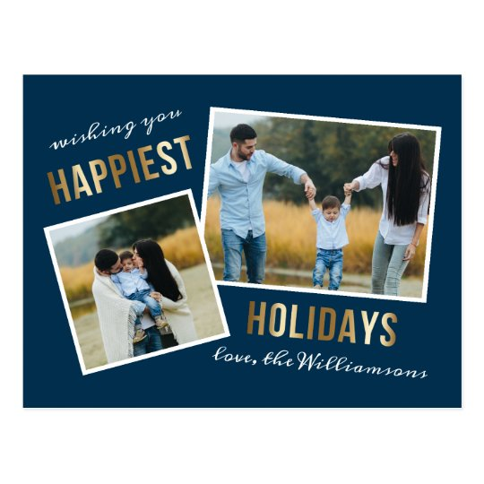 Gold Happiest Holidays Script Christmas Photo Postcard