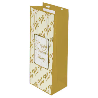 Gold Happy Mother's Day Wine Gift Bag