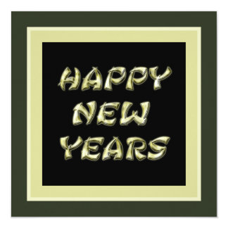 gold Happy New Years 13 Cm X 13 Cm Square Invitation Card