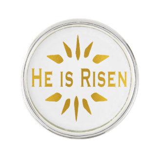 Gold He is Risen Lapel Pin