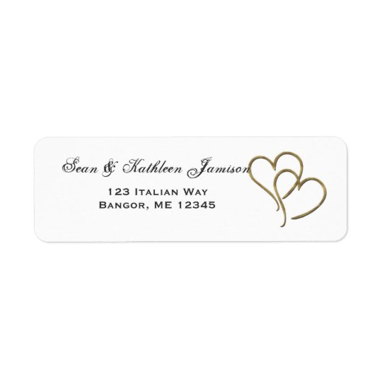 Gold heart address labels
