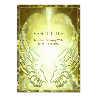 Gold Heart and Angel Wings 11 Cm X 16 Cm Invitation Card