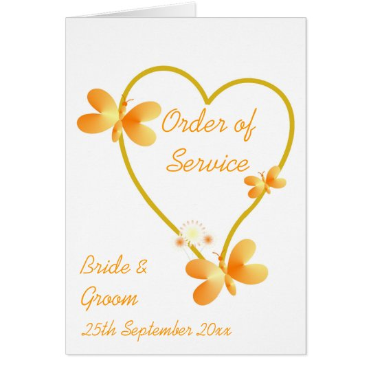 Gold Heart And Butterflies Order Of Service Card