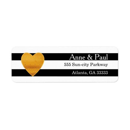 Gold Heart Black & White Stripe Return Address