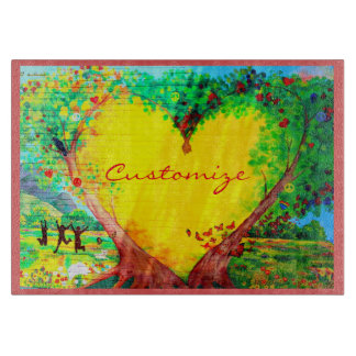 gold heart customized cutting board