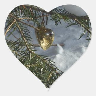 Gold Heart Decoration on Pine Branch Heart Sticker