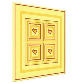 Gold Heart Design 2 Quad Canvas Print
