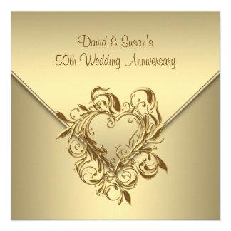 Gold Heart Elegant Gold 50th Wedding Anniversary 13 Cm X 13 Cm Square Invitation Card