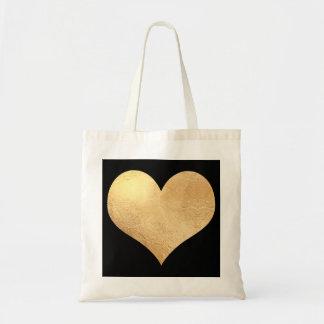Gold Heart Faux Foil/DIY background Color Budget Tote Bag