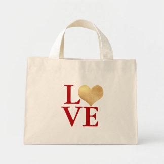 Gold Heart Faux Foil, Love Mini Tote Bag