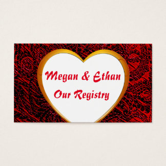 Gold Heart Frame Image & Red Fabric Registry Card