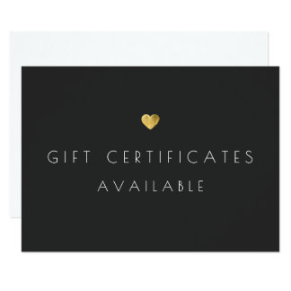 Gold Heart Gift Certificate Promotional Signage 9 Cm X 13 Cm Invitation Card
