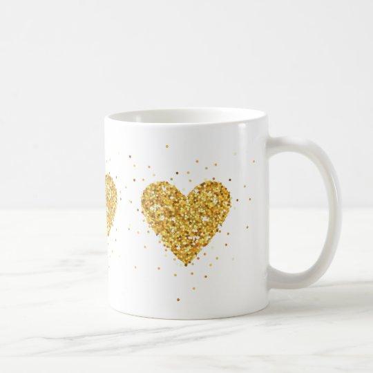 Gold Heart Glitter Texture Coffee Mug