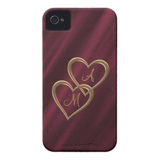 Gold heart monograms crimson iPhone 4 cases