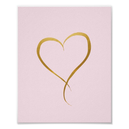 Gold Heart on Pink background - Art Print