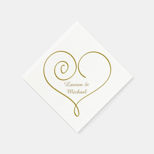 Gold Heart Personalised Wedding Paper Napkin