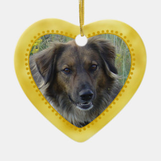 Gold Heart Pet Photo Template Christmas Ornament