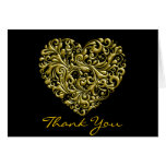 GOLD HEART Thank You Note Card