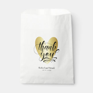 Gold Heart Thank You Personalized Favour Bags