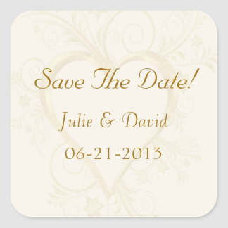 Gold Heart Wedding Save The Date Square Stickers