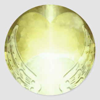 Gold Heart with Angel Wings Template Classic Round Sticker