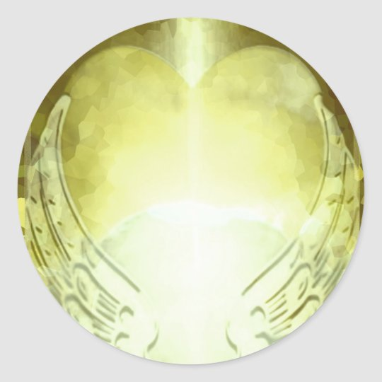 Gold Heart with Angel Wings Template Classic Round