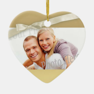 Gold Heart with Bow Photo Ceramic Heart Decoration