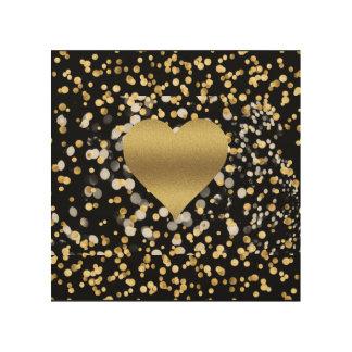 Gold Heart Wood Wall Art
