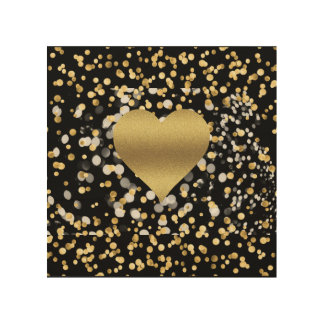 Gold Heart Wood Wall Art Wood Canvas