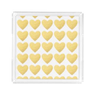 Gold hearts acrylic serving tray