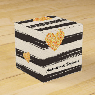 Gold Hearts and Bars Favor Box Favour Box