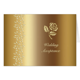 Gold Hearts and Rose Wedding RSVP Note Card