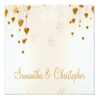 Gold Hearts and Snowflakes Wedding 13 Cm X 13 Cm Square Invitation Card