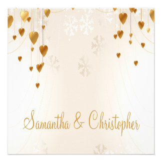 Gold Hearts and Snowflakes Wedding Personalized Invite