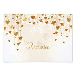 Gold Hearts and Snowflakes Wedding Reception 9 Cm X 13 Cm Invitation Card