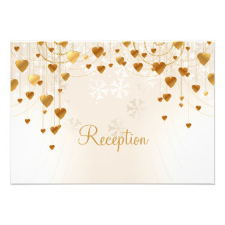Gold Hearts and Snowflakes Wedding Reception Personalized Announcements